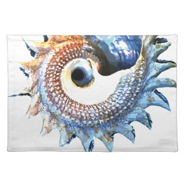 Beach Themed Rainbow Mandala Seashell Golden Spiral Yoga Tee Placemat