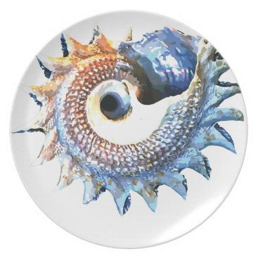Beach Themed Rainbow Mandala Seashell Golden Spiral Yoga Tee Plate
