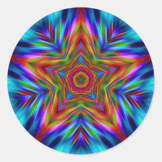 Rainbow Mandala Star Fractal Decal Sticker