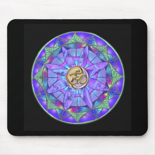 Rainbow Mandala With Gold OM on a Black Mousepad