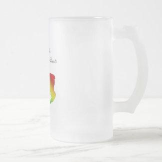 Rainbow Manx Frosted Glass Beer Mug