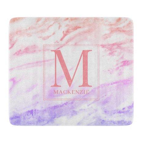 Rainbow Marble Metallic Monogram Cutting Board