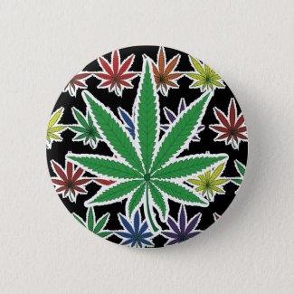 Rainbow Marijuana Leaf on Black Button