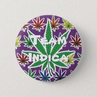 Rainbow Marijuana Leaf Team Indica Button
