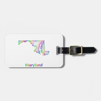 Rainbow Maryland map Bag Tag