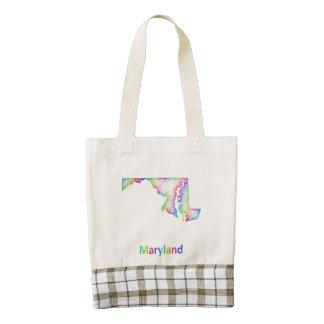 Rainbow Maryland map Zazzle HEART Tote Bag