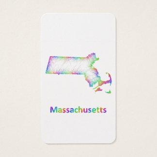 Rainbow Massachusetts map Business Card