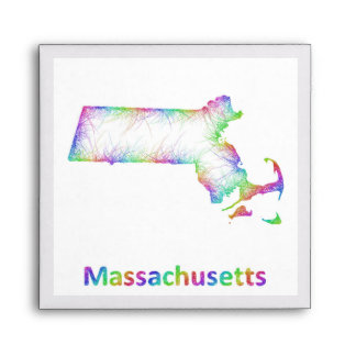 Rainbow Massachusetts map Envelope
