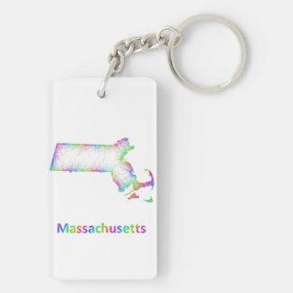 Rainbow Massachusetts map Keychain