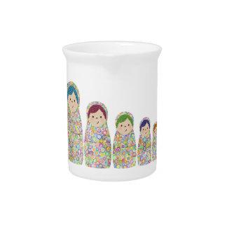 Rainbow Matryoshka Nesting Dolls Beverage Pitcher
