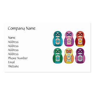 Rainbow Matryoshka Owls Business Cards