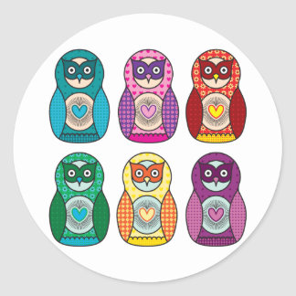Rainbow Matryoshka Owls Classic Round Sticker
