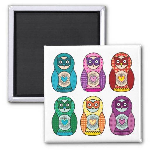 Rainbow Matryoshka Owls Fridge Magnets