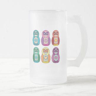 Rainbow Matryoshka Owls Glass Frosted Glass Beer Mug