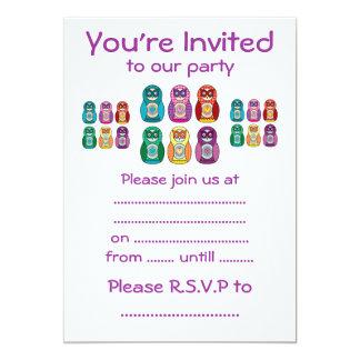 Rainbow Matryoshka Owls Custom Invitation