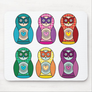 Rainbow Matryoshka Owls Mouse Pad