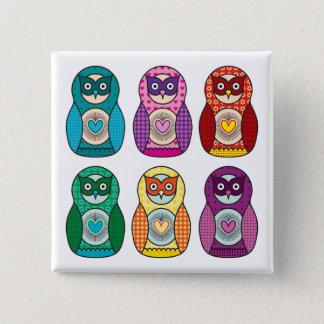 Rainbow Matryoshka Owls Pinback Button