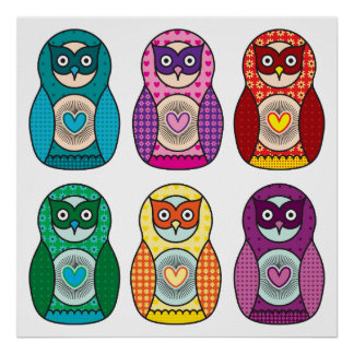 Rainbow Matryoshka Owls Posters