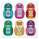 Rainbow Matryoshka Owls Poster Photo Print
