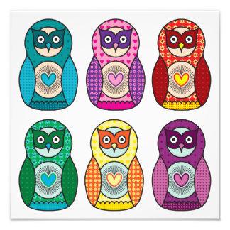 Rainbow Matryoshka Owls Poster Photo Art