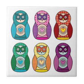 Rainbow Matryoshka Owls tile