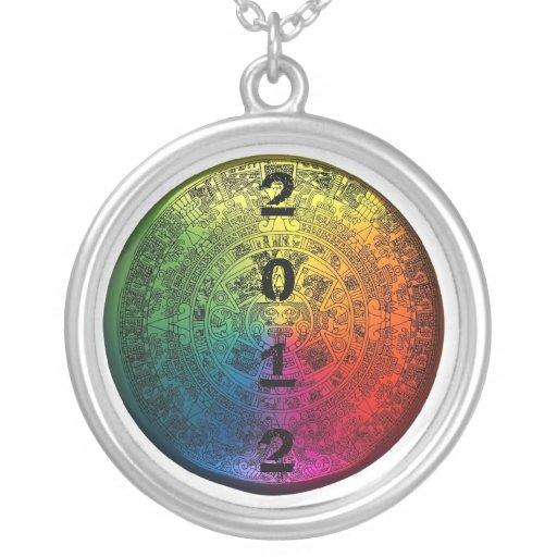 Rainbow Mayan Calendar 2012 Round Charm Necklace