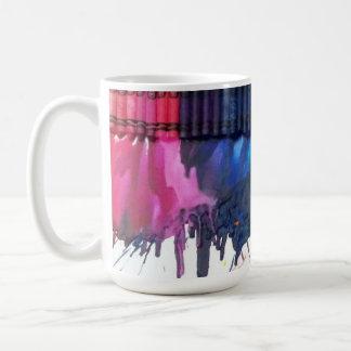 Rainbow melted crayon art artist GIANT coffee mug
