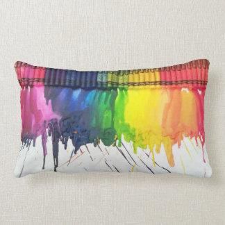 Rainbow melted crayon art throw cushion pillow