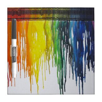 Rainbow melted crayons art dry erase board