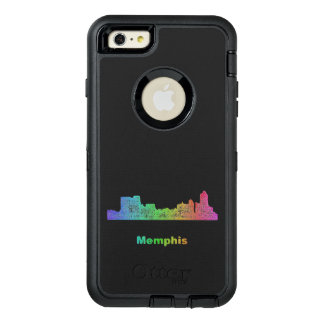 Rainbow Memphis skyline OtterBox Defender iPhone Case