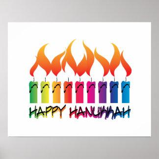 Rainbow Menorah Hanukkah Greeting Print