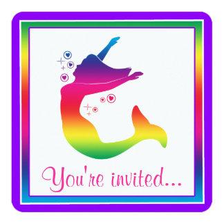 Rainbow Mermaid in Silhouette Happy Birthday Card