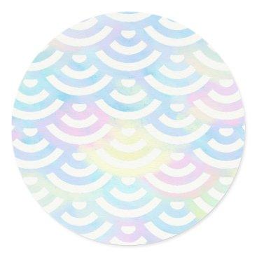 Beach Themed Rainbow Mermaid Pastel Classic Round Sticker