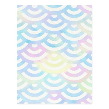 Beach Themed Rainbow Mermaid Pastel Postcard