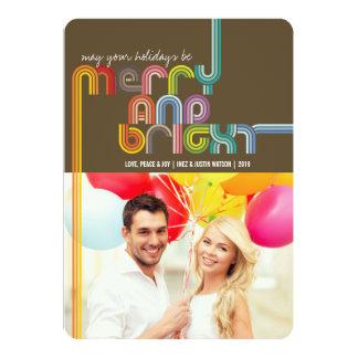 Rainbow Merry & Bright Stripes Holiday Greetings Invite