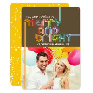 Rainbow Merry & Bright Stripes Holiday Photo Card