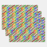 "[ Thumbnail: Rainbow ""Merry Christmas!"", Christmas Stripes Wrapping Paper Sheets ]"