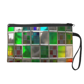 Rainbow Metallic Disco Ball Tiles Wristlet Purse