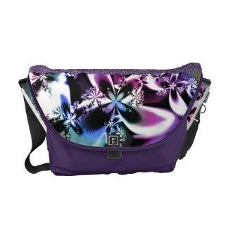 Rainbow Metallic Fractal Flower Messenger Bag