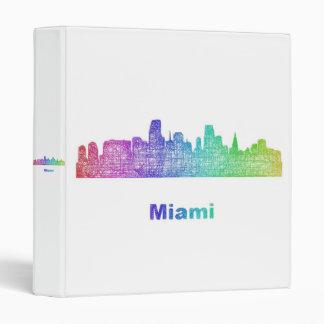 Rainbow Miami skyline 3 Ring Binder