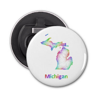 Rainbow Michigan map Bottle Opener
