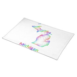 Rainbow Michigan map Cloth Placemat