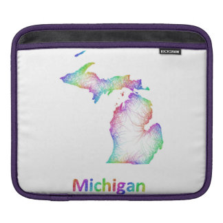 Rainbow Michigan map iPad Sleeve