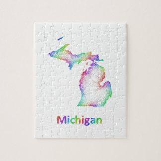 Rainbow Michigan map Jigsaw Puzzle