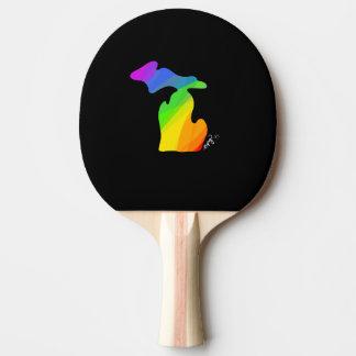 Rainbow Michigan Ping Pong Paddle