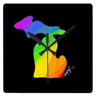 Rainbow Michigan Wall Clock