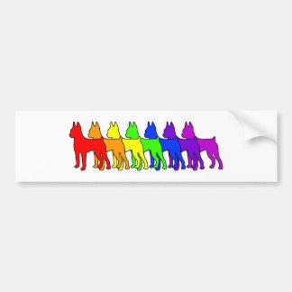 Rainbow Min Pin Bumper Stickers