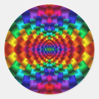 Rainbow Mind Warp Psychedelic Fractal Classic Round Sticker