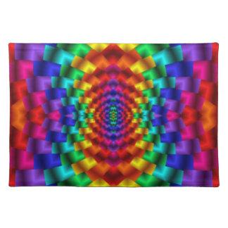 Rainbow Mind Warp Psychedelic Fractal Cloth Place Mat