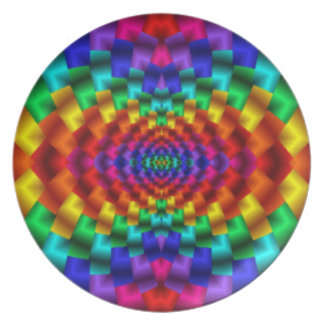 Rainbow Mind Warp Psychedelic Fractal Dinner Plates